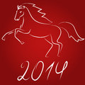 Horse symbol of new year red background Royalty Free Stock Photos