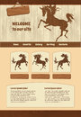 Horse theme for web site template wooden bckground with illustrations Stock Images