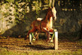 A horse toy old style in an outdoor playground hobby Stock Photos