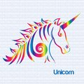 Horse unicorn stylized drawing in rainbow color logo icon vector Royalty Free Stock Photo