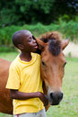 Horse whisperer boy directing by talking in his ear Stock Image