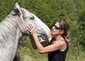 Horse and woman Stock Photo