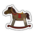 Horse wooden baby toy icon