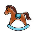 Horse wooden isolated icon