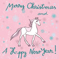 Horse year pink card christmas and new s greetings with cartoon over a grungy background with dots and snowflakes Stock Photo