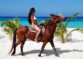 Horseback In Cozumel Royalty Free Stock Photo