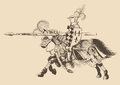 Horseback knight of the tournament with a spear at ready galloping towards opponent engraving Stock Photo