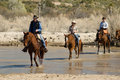 Horseback riding in the desert vacationers from a dude guest ranch go for a ride arizona Stock Image