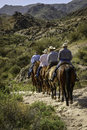 Horseback riding a group of riders are enjoying a nice spring day in tonto national forest arizona Royalty Free Stock Photography