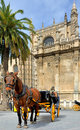 Horsedrawn carriage waiting for tourists in front of the seville cathedral spain this cathedral is an unesco world heritage site Stock Images