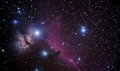 Horsehead real picture taken by telescope of famous region in orion constellation that includes and flaming tree nebulaes Stock Image