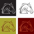 A horses head set of multi colored vector illustration Stock Images