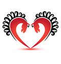 Horses in heart shape logo red with swirly black hair Stock Image