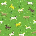 Horses in the meadow equestrian seamless pattern with free field Stock Images