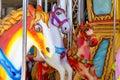Horses in merry go round fairground Royalty Free Stock Photo