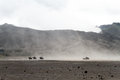 Horses near volcano people on and pick up truck bromo indonesia Royalty Free Stock Photography