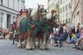 Horses pulling a carriage in the parade Royalty Free Stock Photo