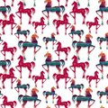Horses seamless pattern great choice for wrapping paper Stock Photography