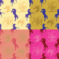 Horses silhouette and monogram seamless pattern set of fabric vector four variants of color combinations in the ornament Royalty Free Stock Images