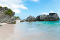 Horseshoe bay beach in bermuda scene empty without any tourists Royalty Free Stock Photo