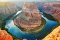 Horseshoe Bend, sunset in the Colorado Canyon Royalty Free Stock Photo