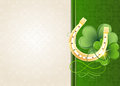 Horseshoe and clover on retro background golden vintage green beige st patricks day symbol Royalty Free Stock Photos