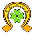 Horseshoe and four leaf clover icon, icon cartoon