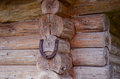 Horseshoe hang on log house corner. Luch symbol Royalty Free Stock Photo
