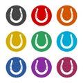Horseshoe, horse shoe silhouette color icon set isolated on white background Royalty Free Stock Photo