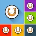 Horseshoe icons with long shadow