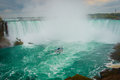 The horseshoe shape of the Niagara Falls, Ontario, Canada