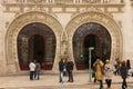Horseshoe shaped arches Entrance. Rossio Station. Lisbon. Portugal Royalty Free Stock Photo