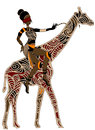 Horsewoman woman sitting on the back of a giraffe in ethnic style Stock Image