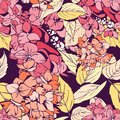 Hortensia hydrangea seamless pattern bright in colors hand drawn Royalty Free Stock Photo