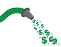 Hose money spray green spraying dollar signs Stock Photos