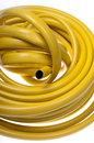 Hose pipe yellow on a white background stock photo Stock Images