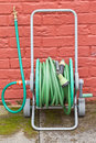 Hose reel photo of a in a garden Stock Photos