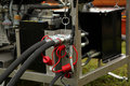 The hoses connected to unit Stock Photo