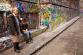 Hosier lane melbourne australia september local cafe workers taking a cigarette break in a much celebrated landmark mainly due to Royalty Free Stock Photo