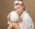 Hosiery beautiful teen in handmade woven sweater with white ball of yarn girl Royalty Free Stock Photo