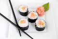 Hosomaki salmon and tempura traditional japanese food sushi rolls Royalty Free Stock Photography