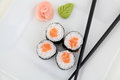 Hosomaki salmon traditional japanese sushi rolls Stock Image