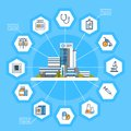 Hospital Application Interface Online Medical Treatment Icons Modern Medicine Concept