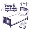 Hospital bed and ambulance Stock Photos