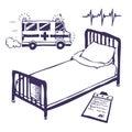 Hospital bed and ambulance Stock Photos