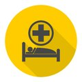 Hospital bed icon with long shadow