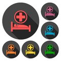 Hospital bed icons set with long shadow