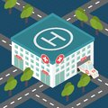 Hospital building, medical flat isometric vector. Royalty Free Stock Photo