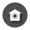 Hospital building vector icon. Infirmary medical clinic sign ill