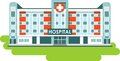 Hospital building on white background